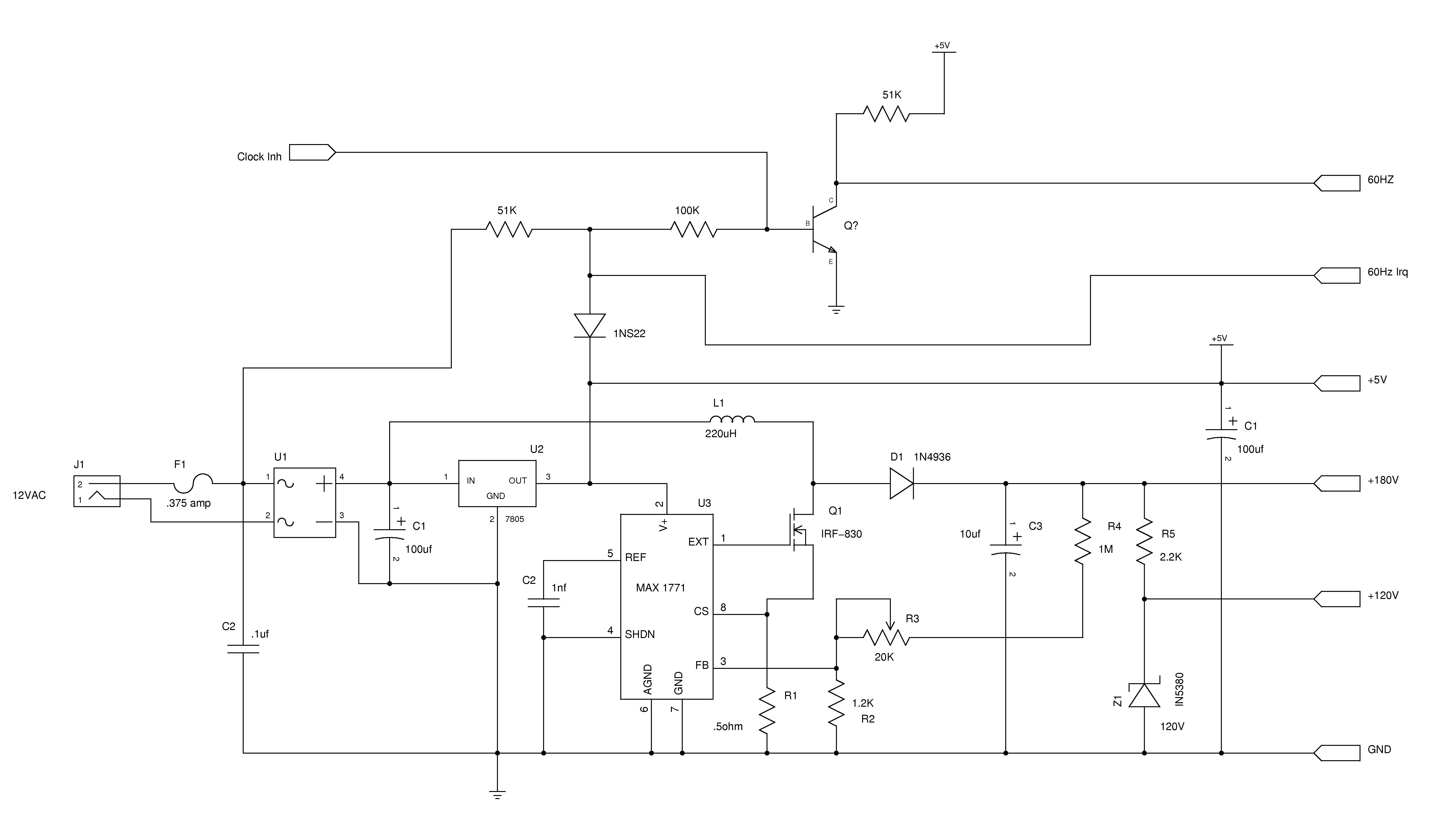 Nixieneon Nixie Tube Clock Circuit Description Schematic 1 Power Supply