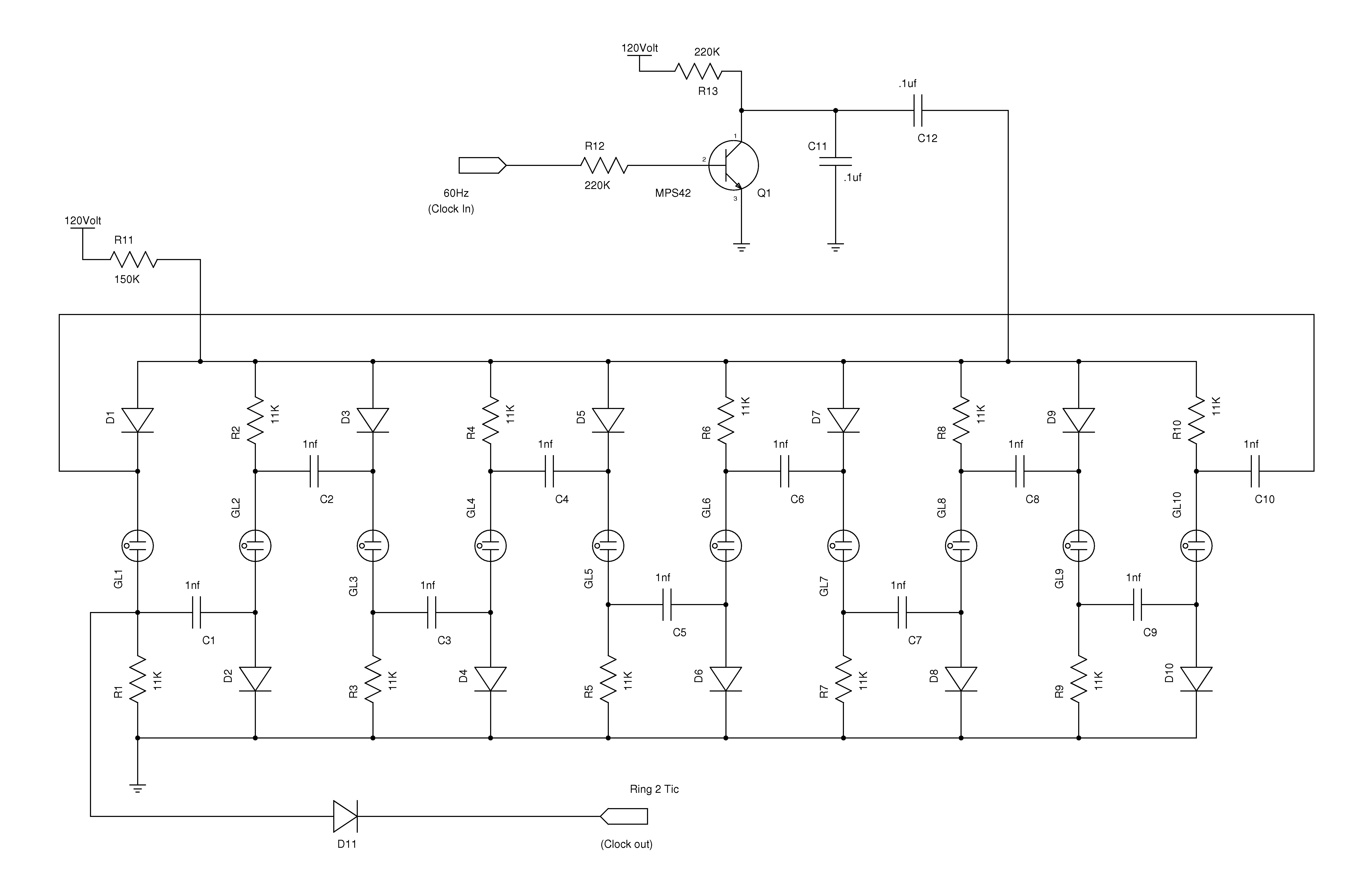 Nixieneon nixie tube clock circuit description schematic 2 10 stage ring counter ccuart Image collections