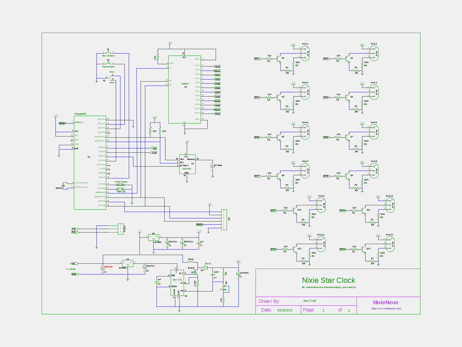 nixiestar clock \u2013 nixieneonthis schematic is for the 16\u2033 clock with the in 13 tubes the 14\u2033 version is slightly different
